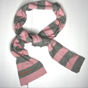 Silk cashmere pink and gray striped scarf